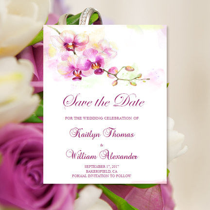 Wedding Save the Date Cards Tropical Orchid Purple
