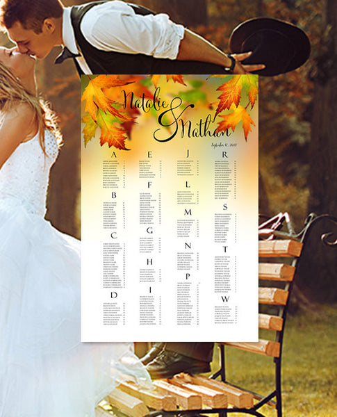Wedding Seating Chart Poster Fall Leaves Print Ready Digital File