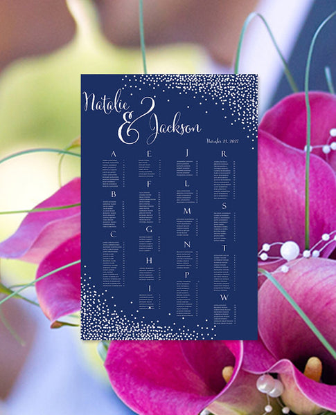 Wedding Seating Chart Poster Confetti Navy Blue White Print Ready Digital File