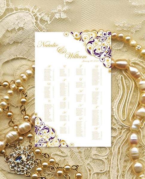 Wedding Seating Chart Poster Isabella Purple Gold Print Ready Digital File