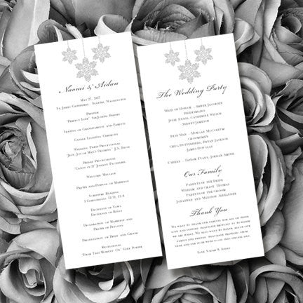 Slim Wedding Program Winter Snowflakes Silver Gray