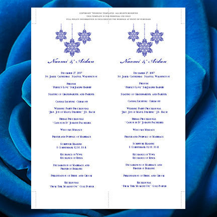 Slim Wedding Program Snowflake Royal Blue