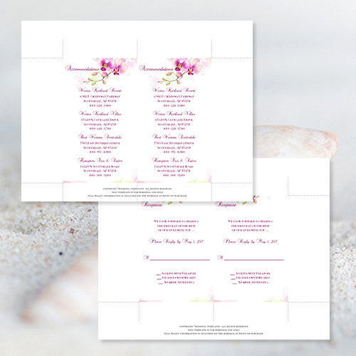 Pocket Fold Wedding Invitations Watercolor Orchid 5x7
