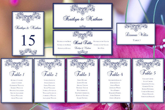Wedding Seating Chart Set Vienna Navy Blue