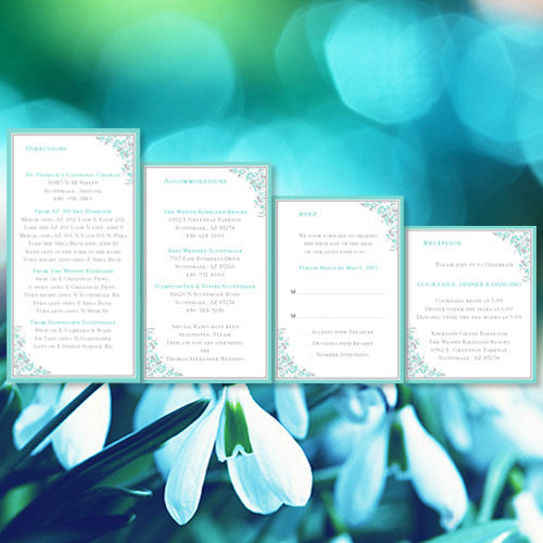 Pocket Fold Wedding Invitations Kaitlyn Turquoise Blue Gray 5x7