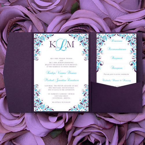 Pocket Fold Wedding Invitations Kaitlyn Malibu Blue Purple 5x7 ...