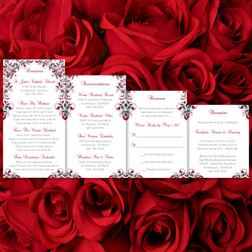 Pocket Fold Wedding Invitations Kaitlyn Red Dark Gray 5x7