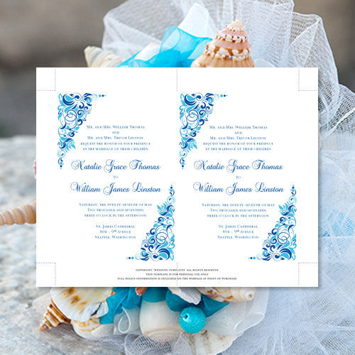 Pocket Fold Wedding Invitations Gianna Malibu Horizon Blue 5x7