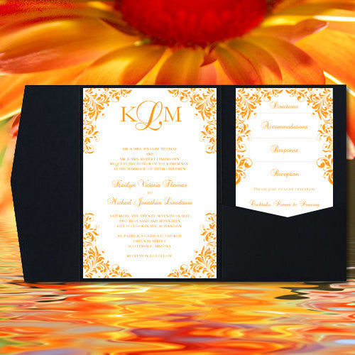 Pocket Fold Wedding Invitations Kaitlyn Orange #23 5x7