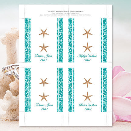 Wedding Seating Card Beach Starfish Jade Tent