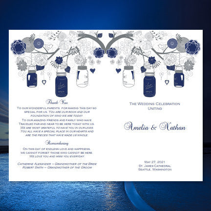 Wedding Program Template Rustic Mason Jars Navy Blue Gray