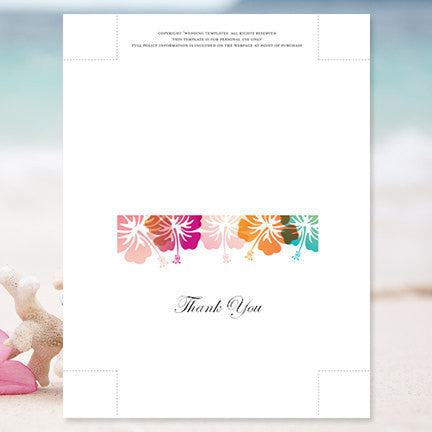 wedding thank you card hibiscus pink orange blue