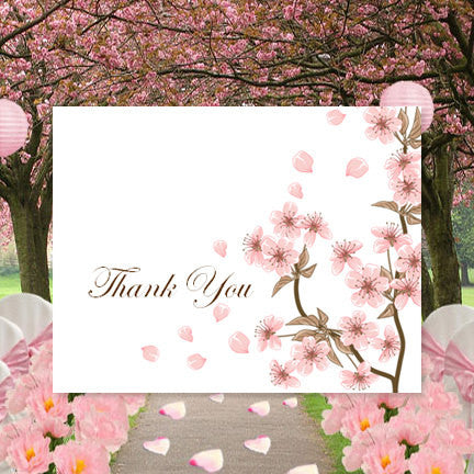 Wedding Thank You Card Cherry Blossom Pink