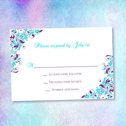 Wedding Response Cards Kaitlyn Purple Turquoise
