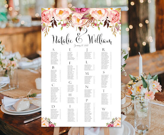 Watercolor floral wedding seating chart template wedding decor seating chart with greenery and flowers W16 2 sizes instant download