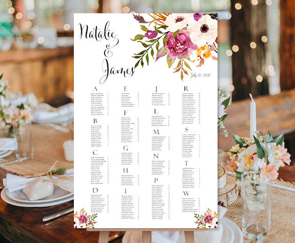 Wedding Seating Chart Poster Watercolor Floral 2