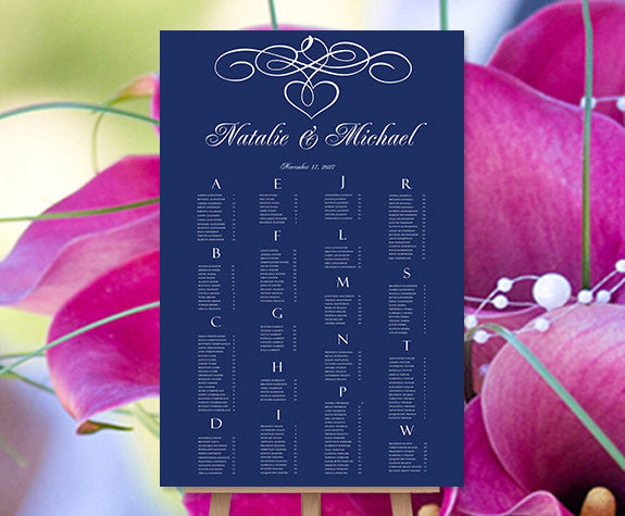 Wedding Seating Chart Poster Calligraphic Heart Navy Blue Print Ready Digital File