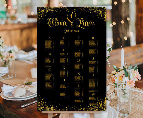 Wedding Seating Chart Poster Confetti Heart Gold Sparkles Print Ready Digital File