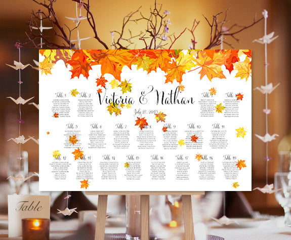 DIGITAL FILE Elegant Silver Leaves and Branches Wedding Seating Chart or Seating Plan Poster