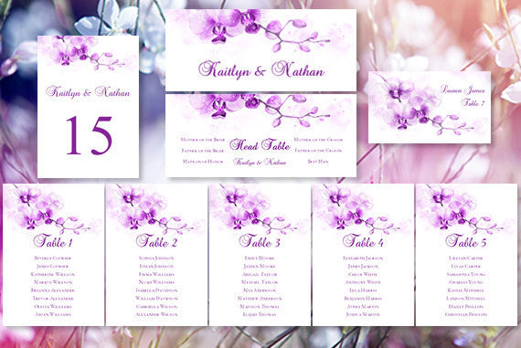 Wedding Seating Chart Set Watercolor Orchid Purple