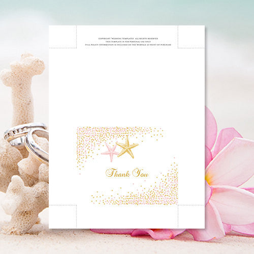 Wedding Thank You Card Confetti Starfish Blush Pink Gold