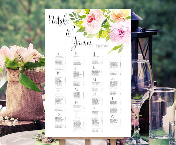 Wedding Seating Chart Poster Watercolor Floral 10 Garden Print Ready Digital File