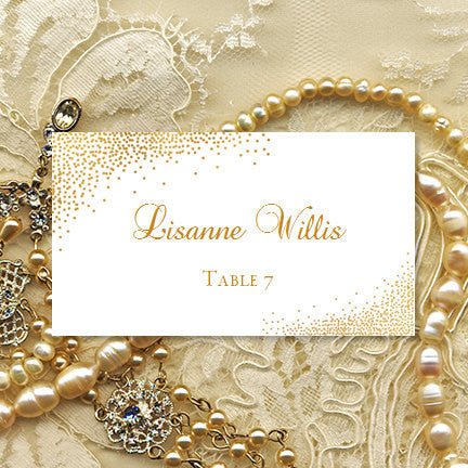 Wedding Seating Card Confetti Gold Gold Tent