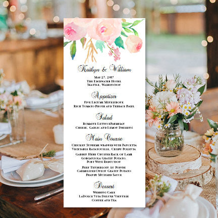 wedding menu card watercolor floral 3 tea length wedding template shop