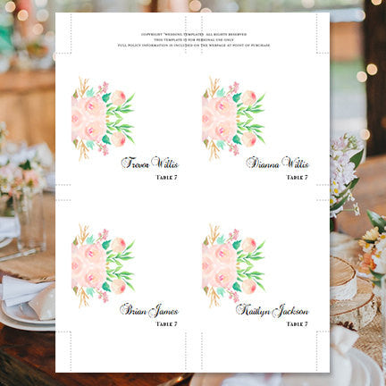 Wedding Seating Card Watercolor Floral 3 Tent
