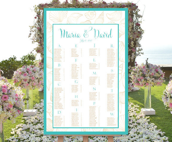 Wedding Seating Chart Poster Seashells Turquoise Sand Print Ready Digital File