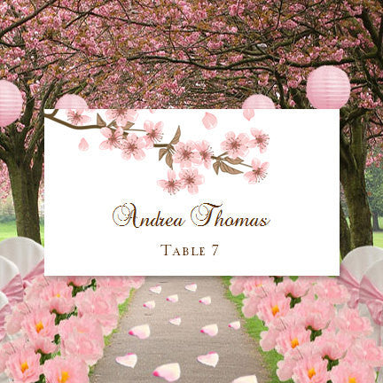 Printable Wedding Place Cards Cherry Blossom Flat