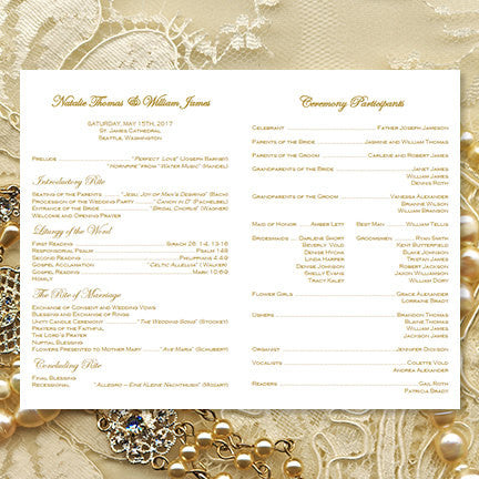 Catholic Church Wedding Program Vintage Lace Gold (2) Order of ...