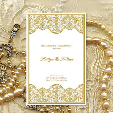 Catholic Church Wedding Program Vintage Lace Gold (2) Order of Service