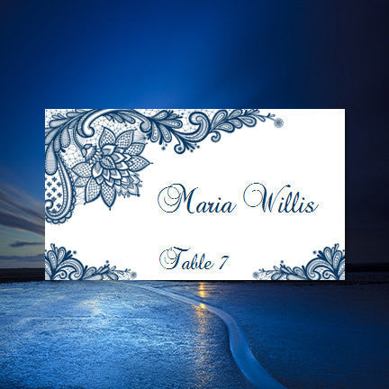 Wedding Seating Card Vintage Lace Navy Blue Tent