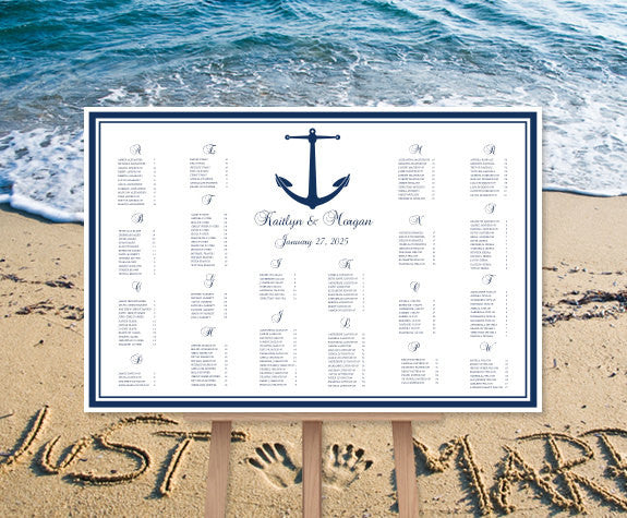 Wedding Seating Chart Poster Nautical Anchor Navy Blue Print Ready Digital File