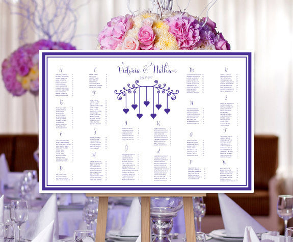Wedding Seating Chart Poster Hanging Hearts Regency Purple