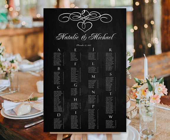 Wedding Seating Chart Poster Calligraphic Heart Chalkboard Print Ready Digital File