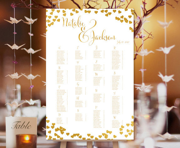 Wedding Seating Chart Poster Confetti Hearts Gold Print Ready Digital File