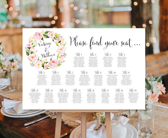 wedding seating chart poster floral wreath 1 print ready digital file