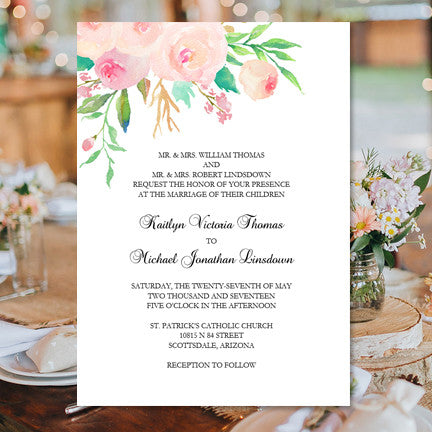 Printable Wedding Invitation Template Watercolor Floral 3