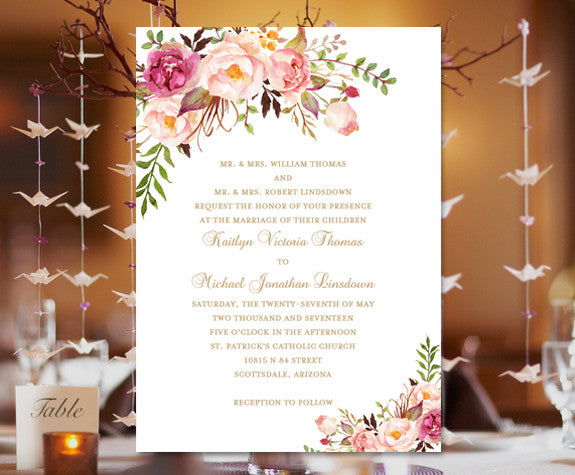 How Do You Make Your Own Wedding Invitations: Printable Wedding Invitation Romantic Blossoms Make Your