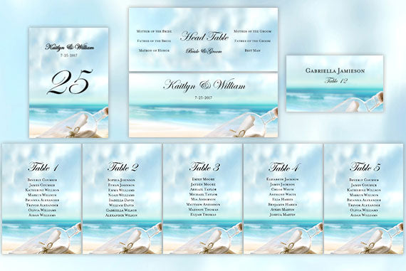 Wedding Seating Chart Set Message in a Bottle Beach Theme