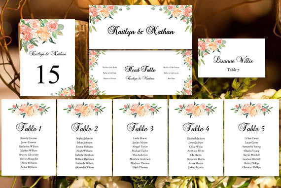 Wedding Seating Chart Set Jasmine's Garden DIY Templates
