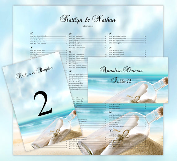 Wedding Seating Chart Set Beach Theme Message in a Bottle