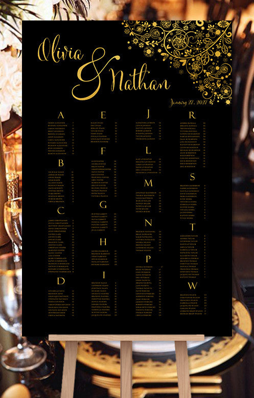 Wedding Seating Chart Poster Snowflakes Black Gold