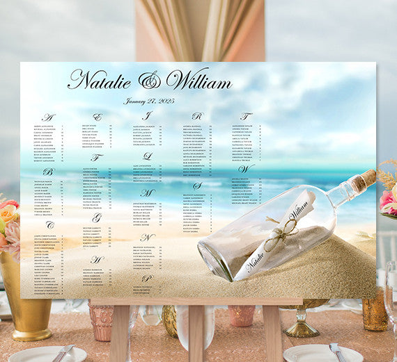 Wedding Seating Chart Poster Message in a Bottle Tropical Beach