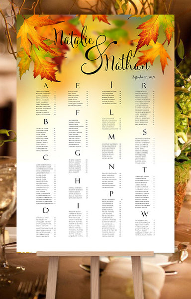 Wedding Seating Chart Poster Fall Leaves