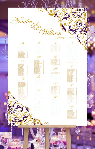 Wedding Seating Chart Poster Isabella Purple Gold