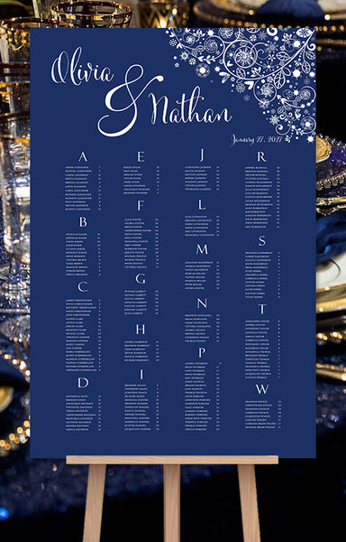 Wedding Seating Chart Poster Snowflakes Navy Blue