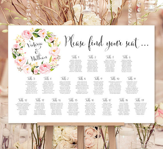 Wedding Seating Chart Poster Floral Wreath 1